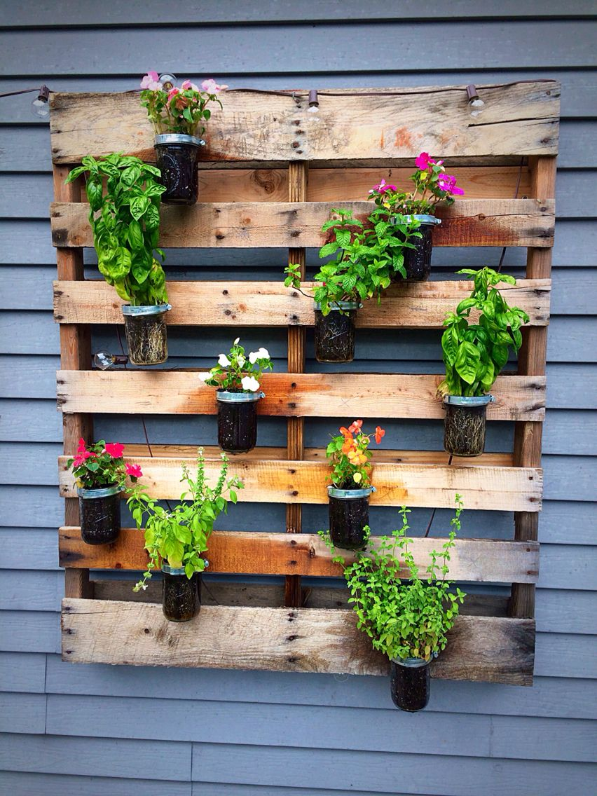 Diy Wooden Pallet Wall Planter. Mix Of