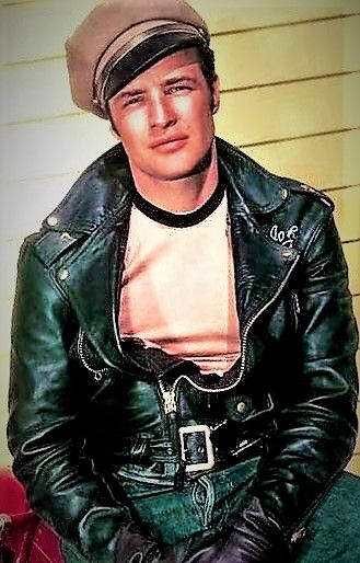 Marlon Brando was the arguably the first to popularize the classic  motorcycle jacket with 501 button fly Levis. fc148b4c8020