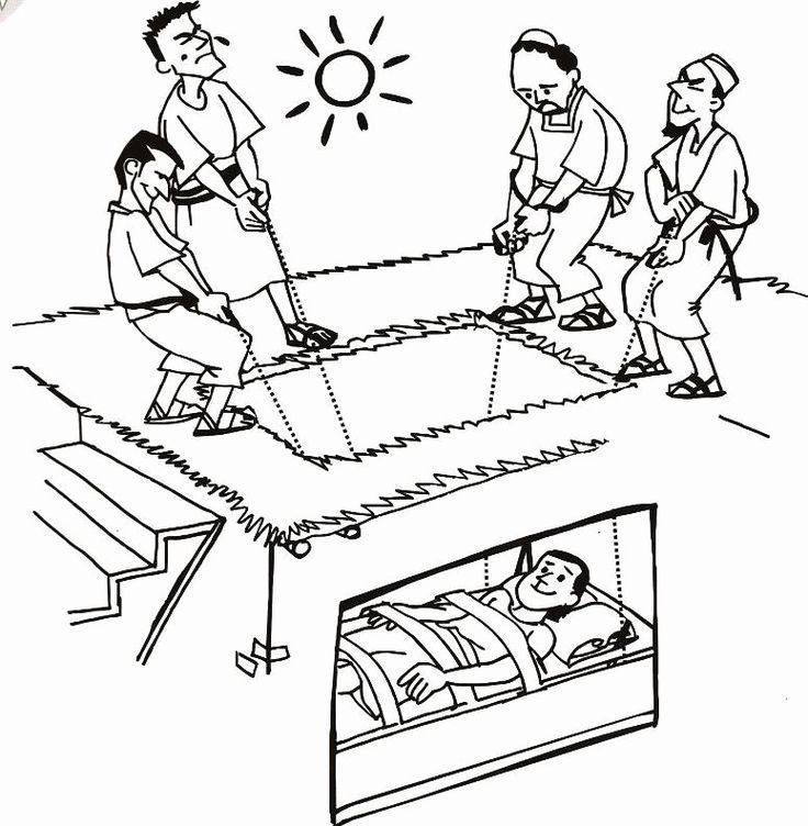 32 Paralyzed Man Lowered Through Roof Coloring Page in