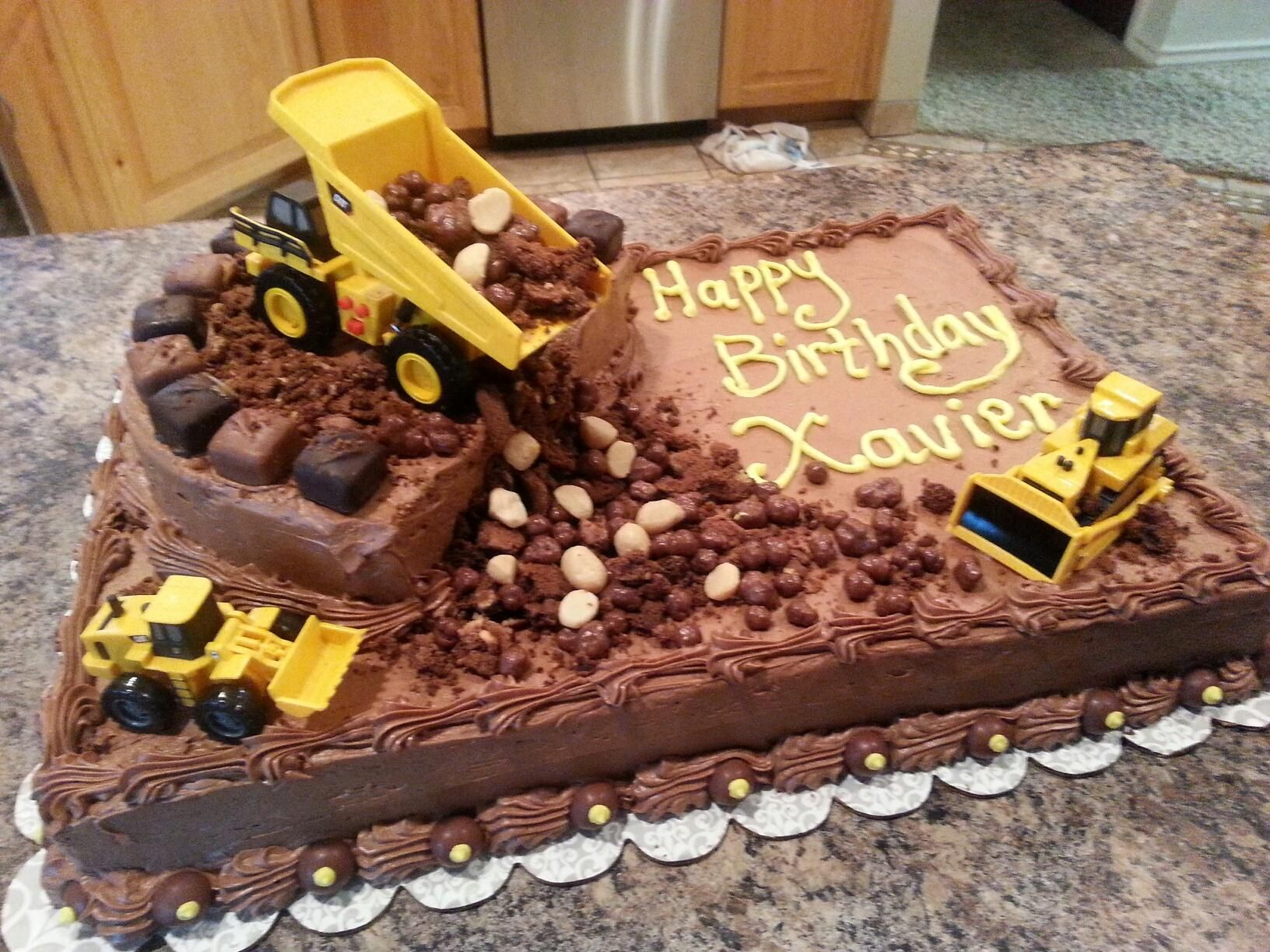Marvelous 2Nd Birthday Cake For X Truck Birthday Cakes Construction Funny Birthday Cards Online Elaedamsfinfo