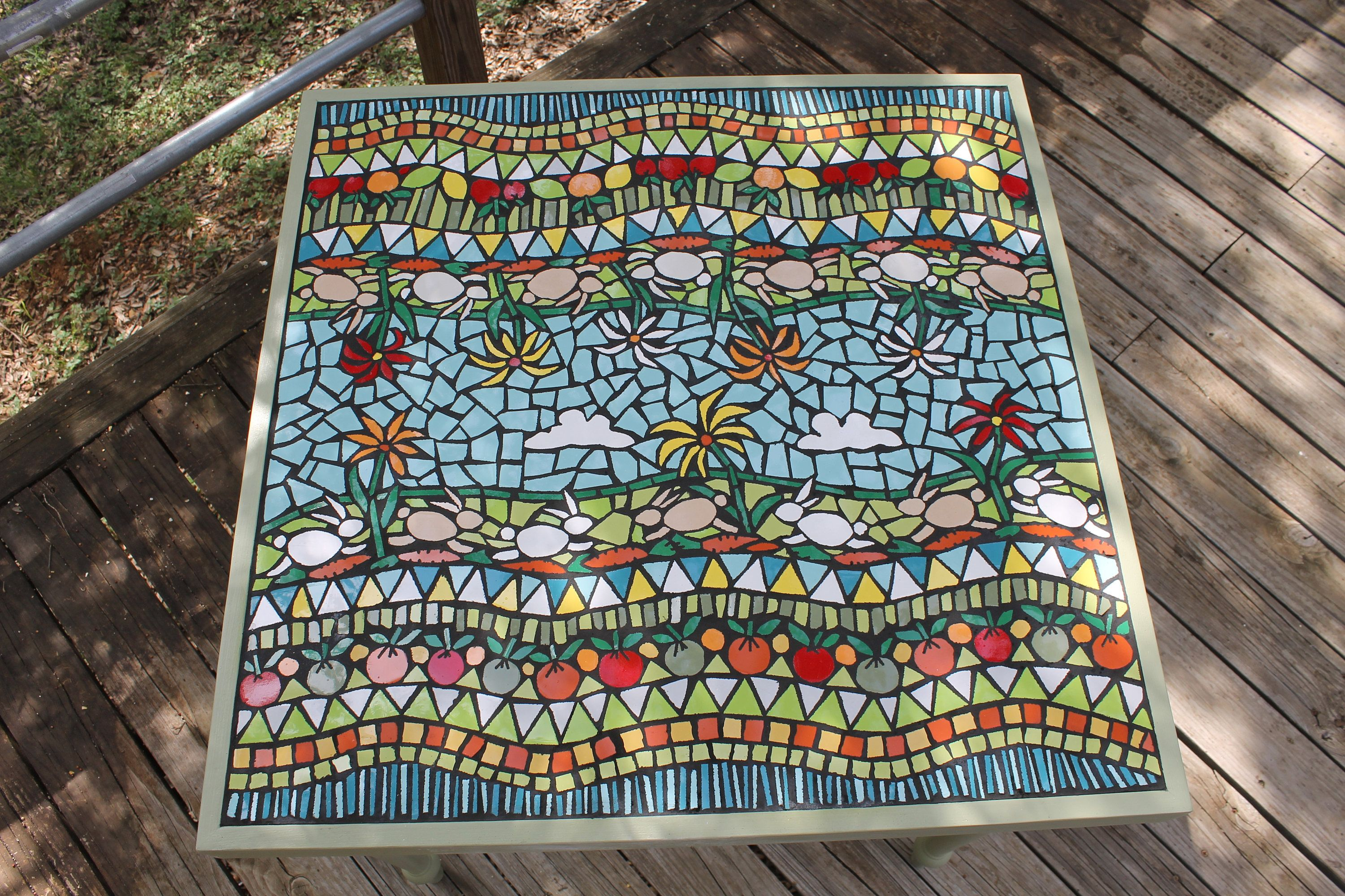 Mosaic Table Mosaic Art Mosaic Garden Table Outdoor Mosaic Table Mosaic Garden Art Floral Mosaic Bunnies Mosai Mosaic Garden Art Mosaic Art Floral Mosaic