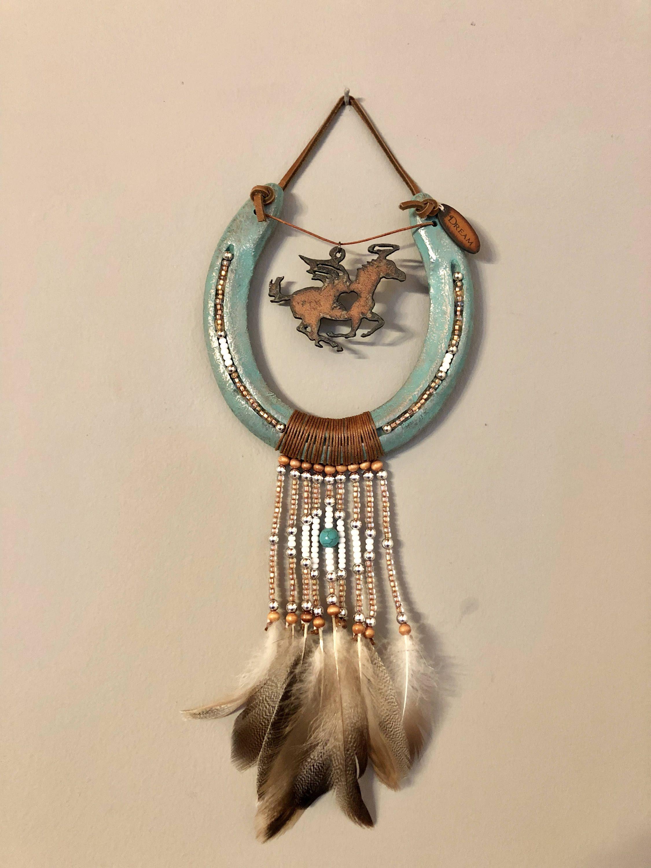 Turquoise Hanging Horseshoe Horseshoe Projects Horseshoe Crafts