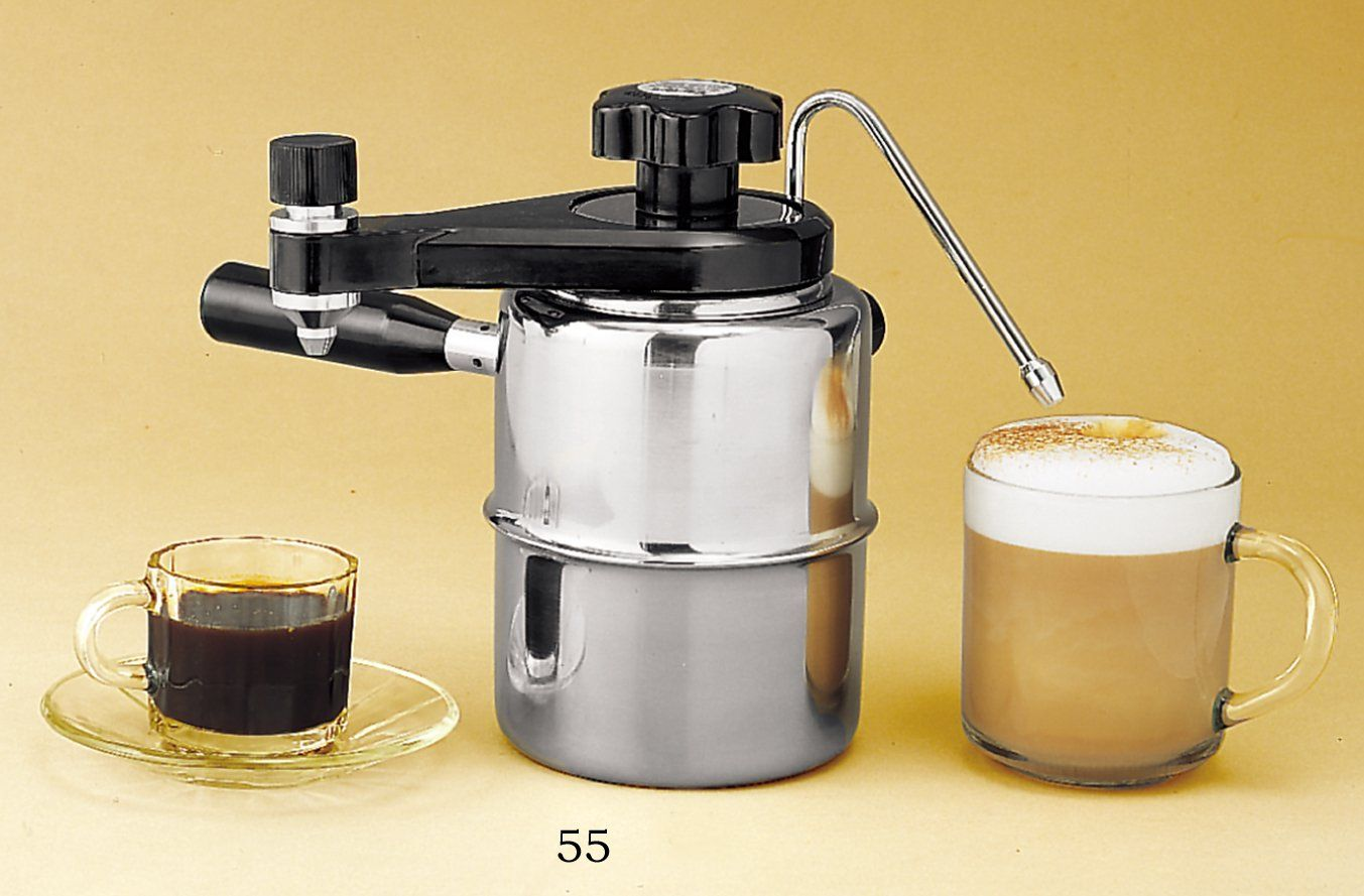 Stove top espresso and cappuccino maker. Solid stainless