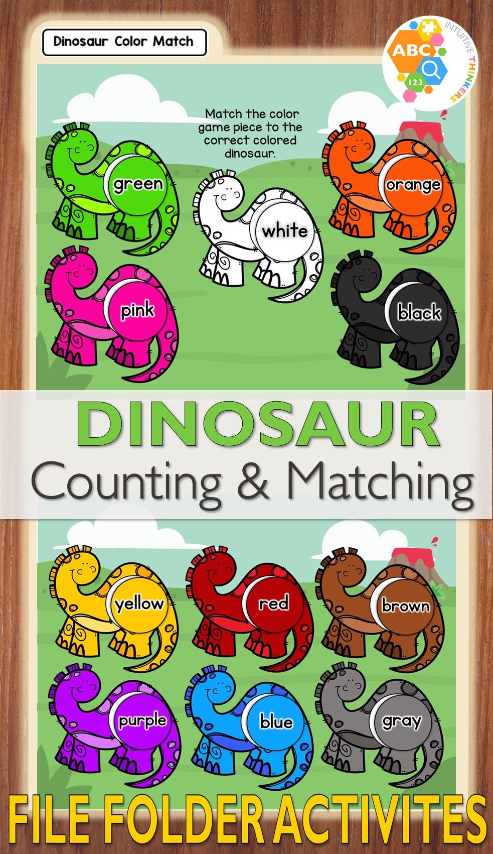 Dinosaur Counting and Matching File Folder Activities   File folder ...