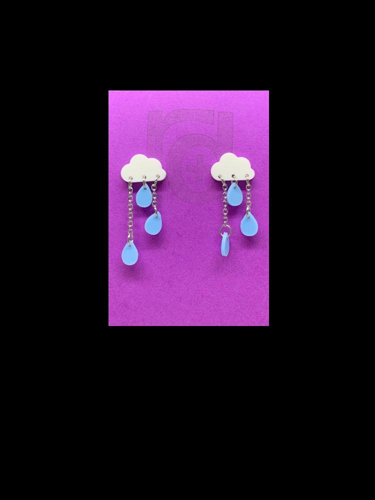 Make It Rain 3D Printed Earrings - White/Light Blue