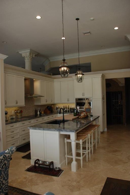 Transitional Kitchen With Off White Cabinetry Radiates Warmth