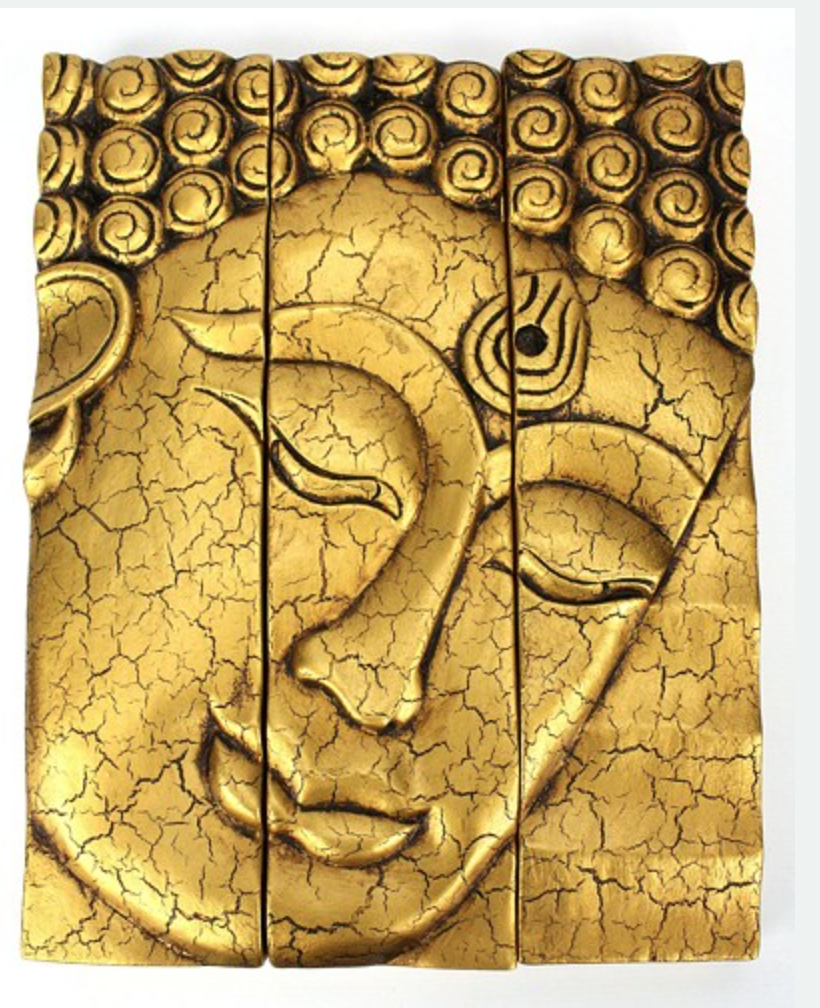 3-part Wooden Thai Handmade Buddha face panel - Cracked Gold finish ...