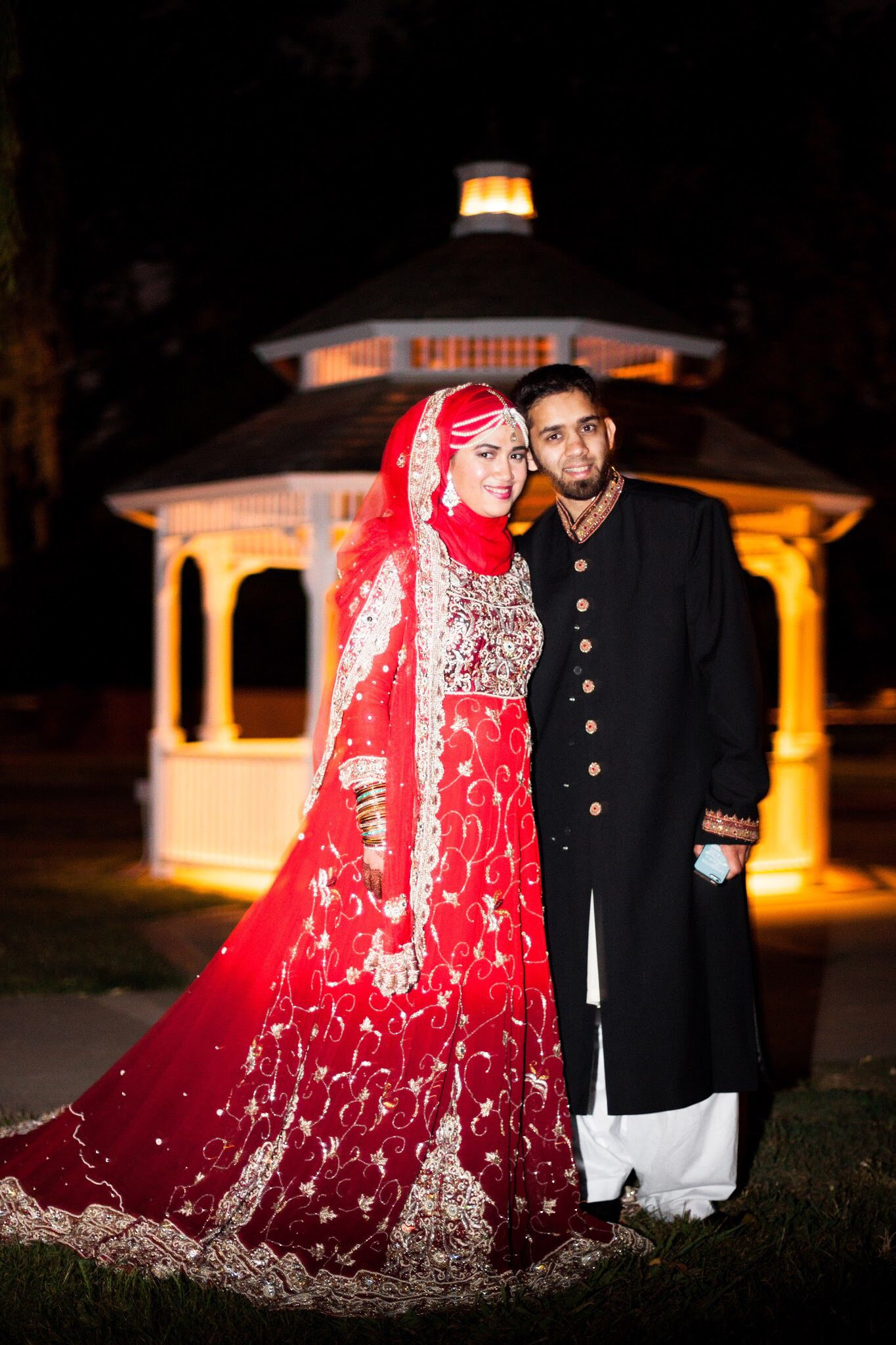 Red silver and gold Indian Pakistani dress lengha with