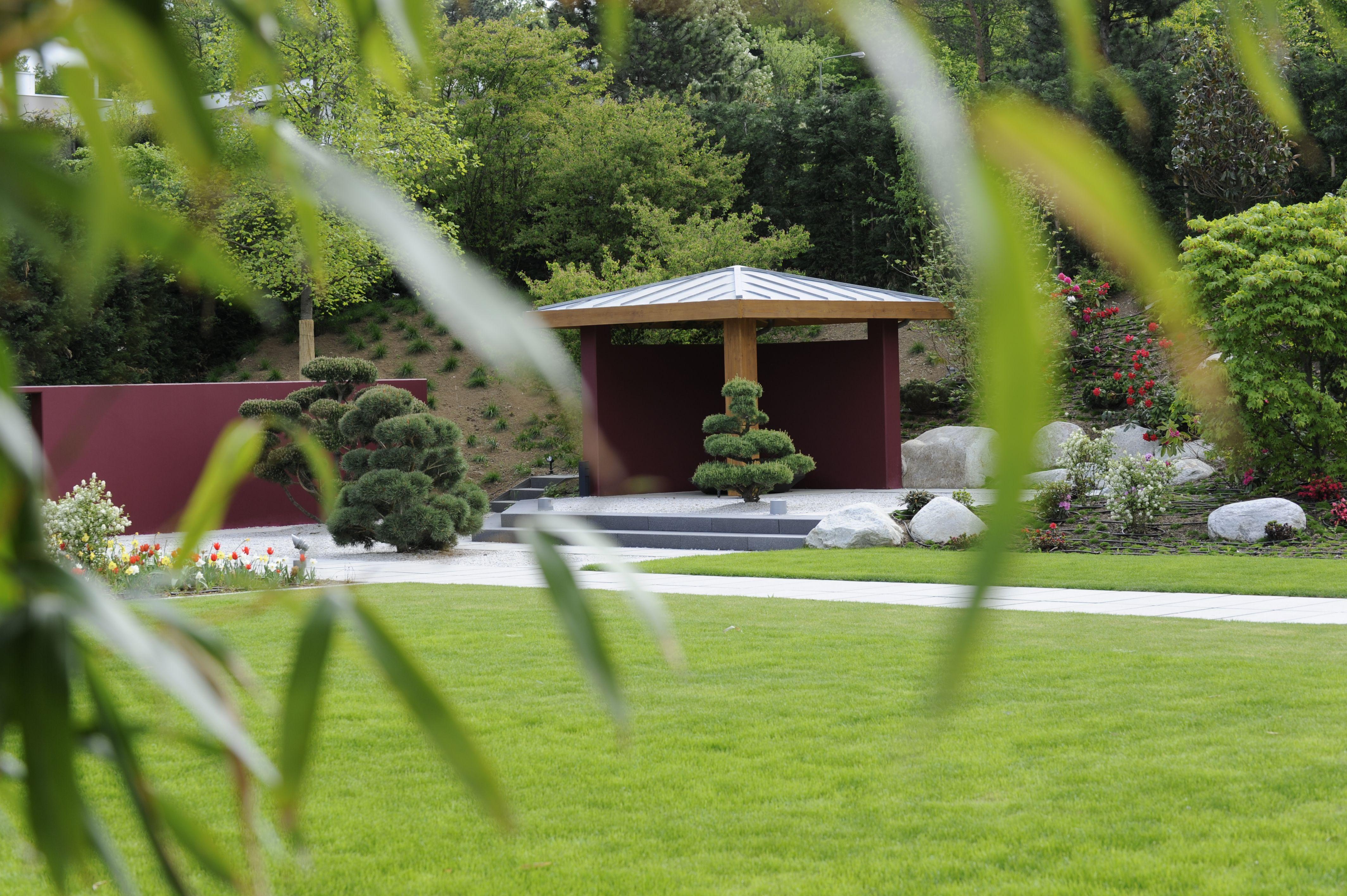 Bambus Im Garten moderner wohngarten mit asiatischen elementen pavillon mit bonsai