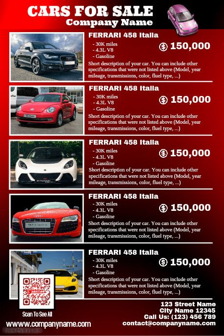 Red Glossy Cars For Sale Poster   Car Dealership Poster Template Http://www  For Sale Poster Template