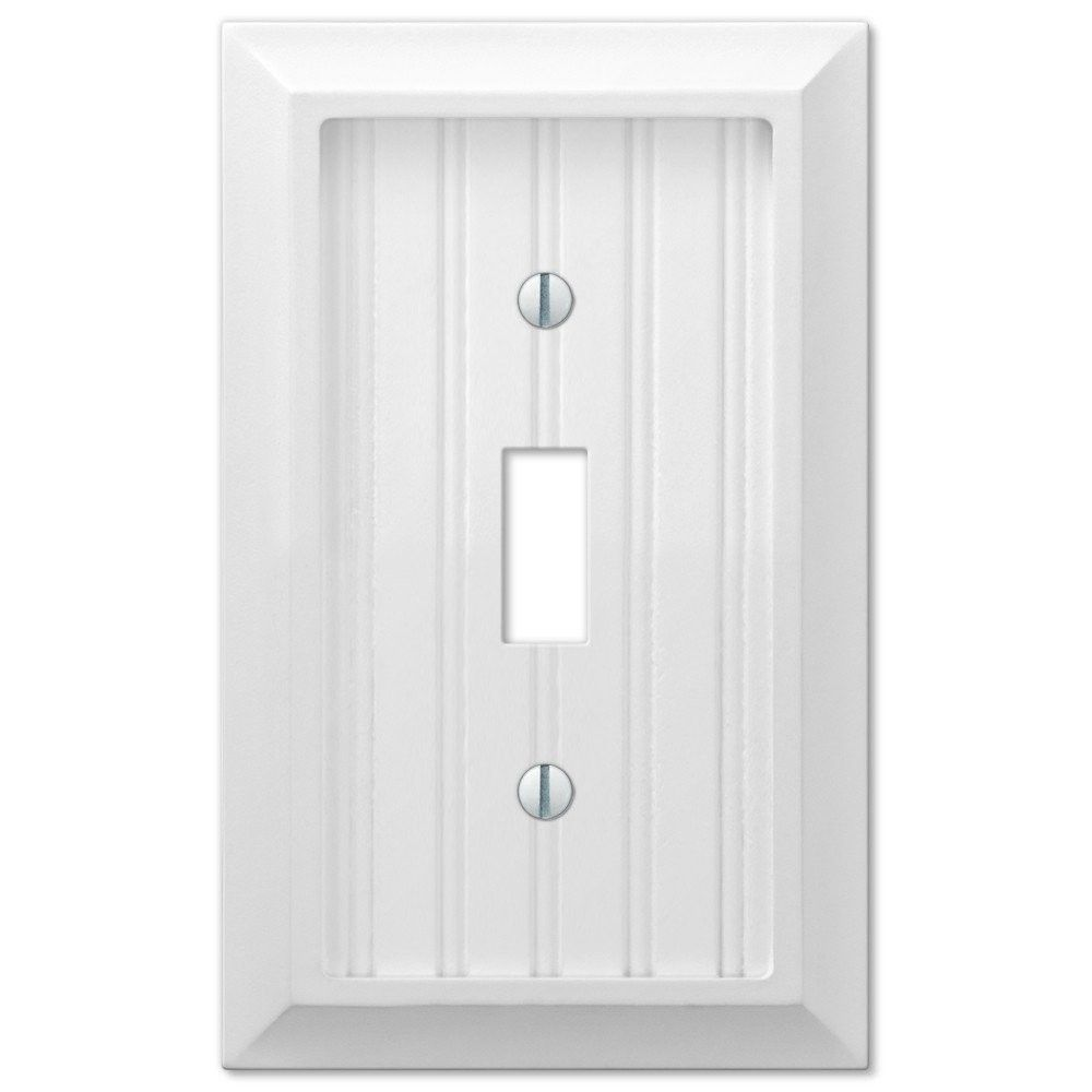 Amerelle Wall Plates Amerelle 279Tw Cottage Wood White Single Toggle Wall Light Switch