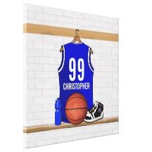 Personalized Blue Basketball Jersey Stretched Canvas Prints