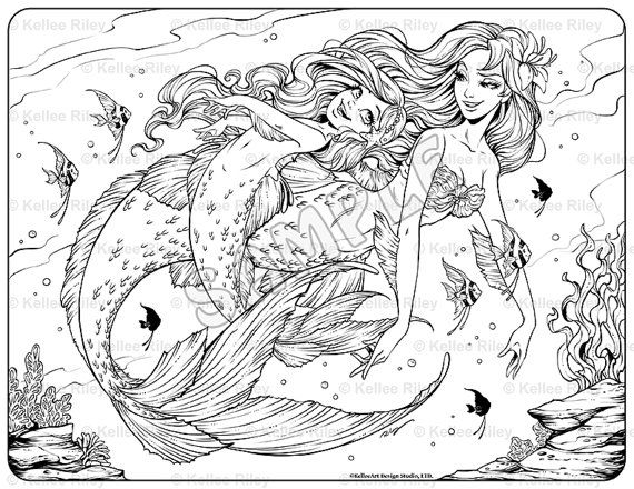 Underwater Playtime Adult Coloring Page By KelleeArt On Etsy