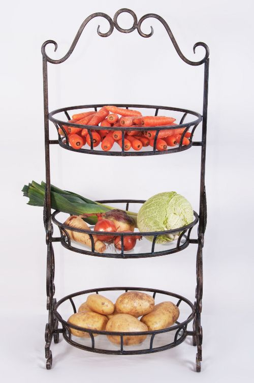 Aunt Wilamina Wrought Iron Vegetable Or Fruit Stand Black Country Metalworks Ltd