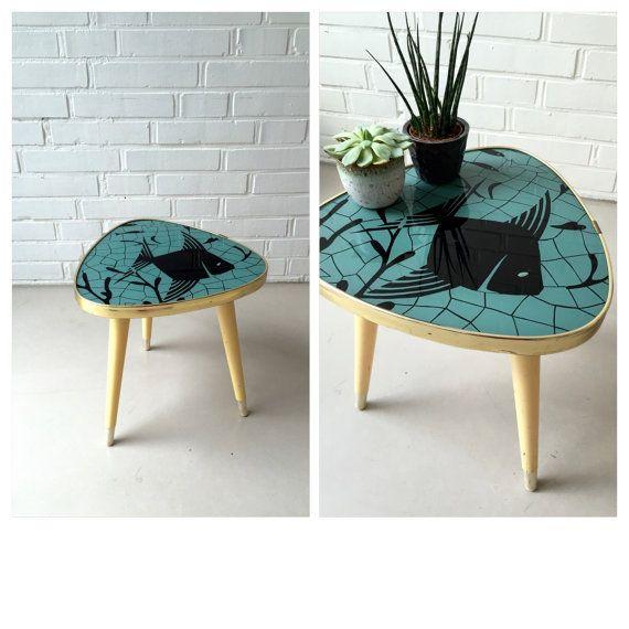 Vintage Side Table, Three Leg Kidney Shaped Table, Flower Ottoman, Vintage