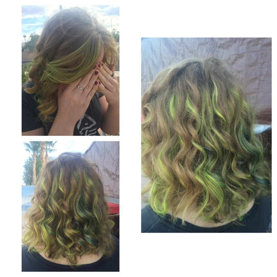 Green Highlights In Blonde Hair Turquoise Hair Neon Hair