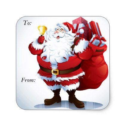 Santa Clause Square Sticker Christmas Tags