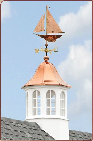 Copper Roof Cupola With Windows And Sailboat Weathervane Beach Cottage Style Weather Vanes Seaside Cottage
