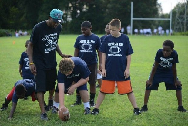 Madison County Parks And Recreation Department Held A Football Camp At Pugh Bourne Park For Kids Ages 5 To 13 Thursday Evening V Football Parks Recreation Megan Smith