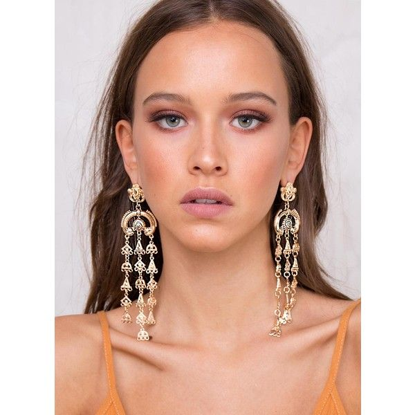 Temple Empress Earrings ($22) ❤ liked on Polyvore featuring jewelry, earrings, gold, earrings jewellery, gold earrings, gold jewellery, yellow gold earrings and gold earrings jewelry