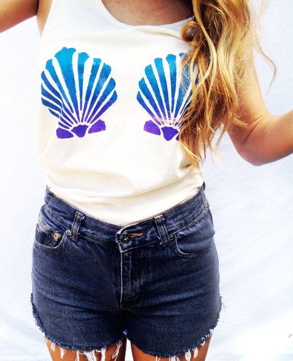 3303a27ea4bb0 Mermaid Top The Little Mermaid Inspired Women s Clothing Mermaid Tank  Clamshell Bra Top Summer Wear Hipster Tee Tumblr  20  www.TheBohipstian.Etsy.com