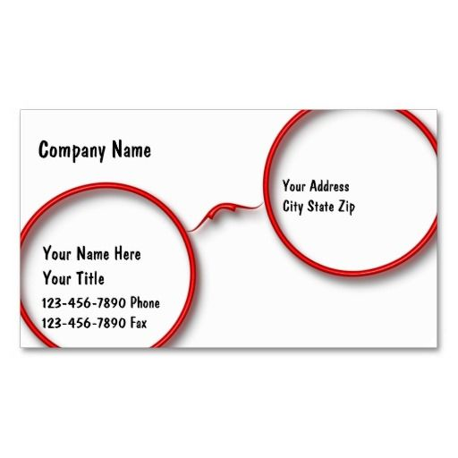 Optometry Business Cards Optometrist Business Cards Pinterest