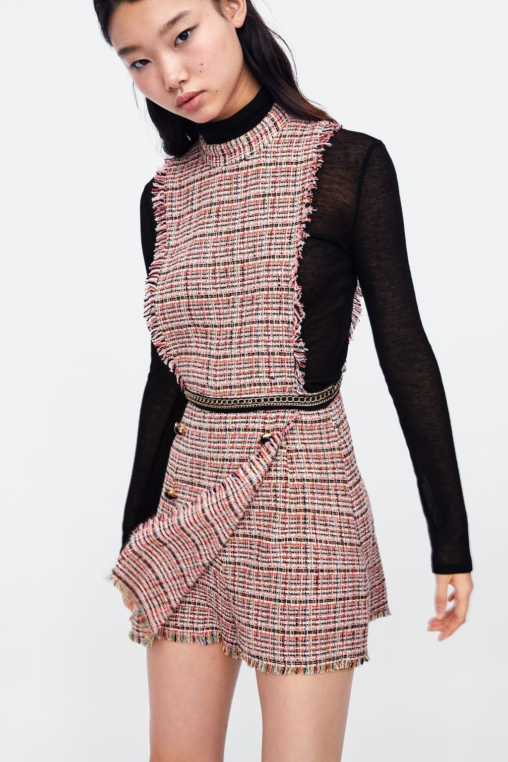 5e70637aa05a44 Image 2 of TWEED JUMPSUIT WITH CHAIN from Zara | work in 2019 ...