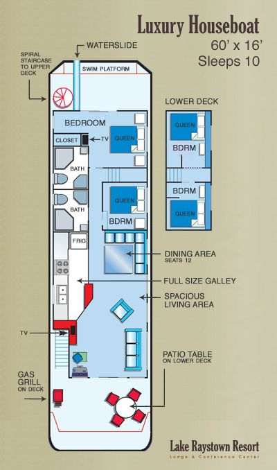 Good Ideas And Layout Sleeps 10 House Boat Floating House Boat House Interior