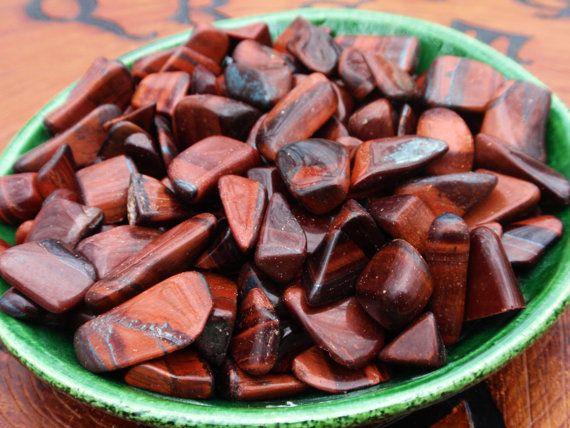 RED TIGER EYE Tumbled Crystal Gemstone Chips by DewberrysHerbal, $6.95