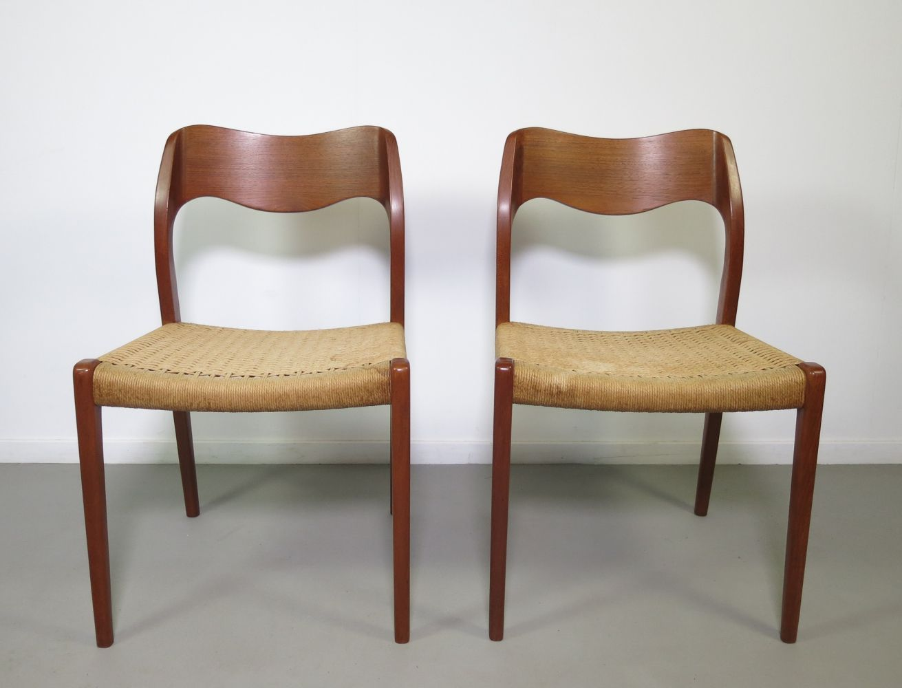 7ff369d132bf5 For sale  Set of 2 teak  Model 71  dining chairs by Niels Otto Møller