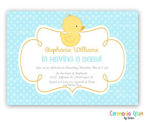 rubber ducky duck custom baby shower invitation on etsy, $9.50,
