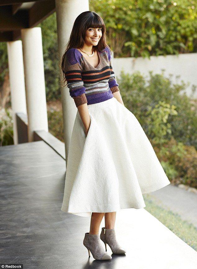 full midi-length skirt,hemline trend, lady like skirt, midi-length ...