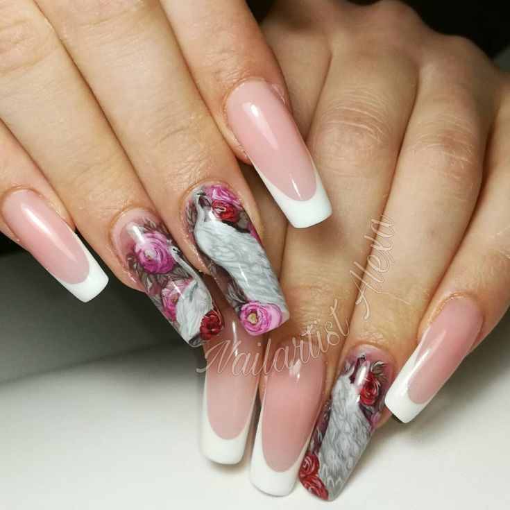 90+ french tip acrylic nails square 2018 | Long nail designs
