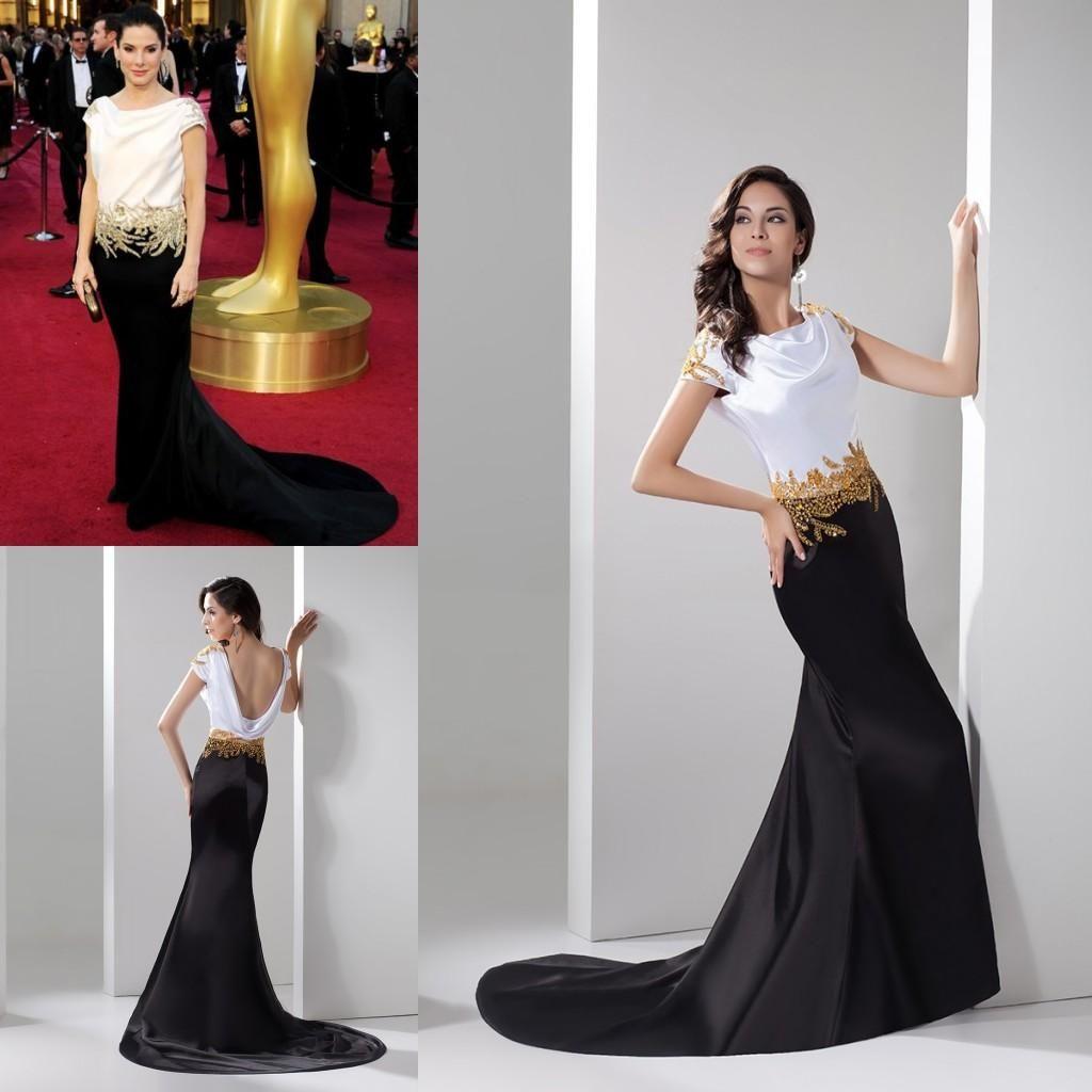 Sandra Bullock Celebrity Wedding Evening Dresses 2017 Gold Beaded Cowl Backless Gothic Black And White Mermaid