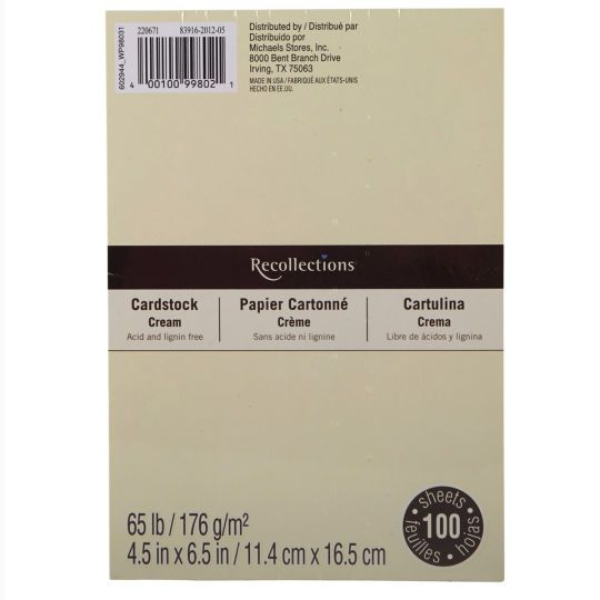 4 5 X 6 5 Cardstock Paper By Recollections 100 Sheets Cardstock Paper Card Stock Recollections