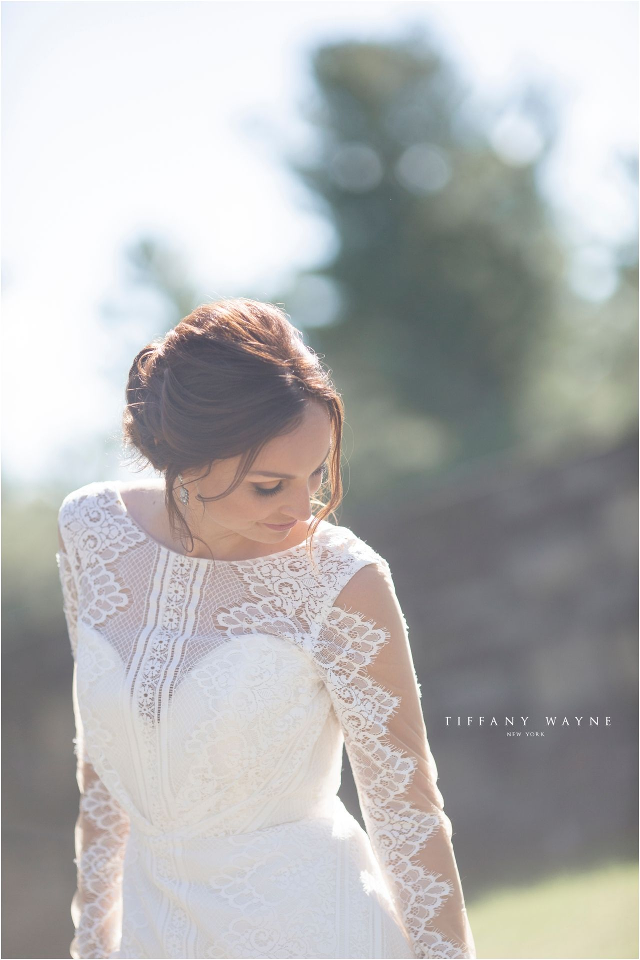 Natural bridal makeup outdoor wedding portrait light and airy
