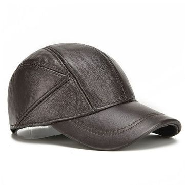 Mens Winter Genuine Leather Baseball Caps With Ear Flaps Outdoor Warm  Trucker Adjustable Hats 1ea80c0851bf