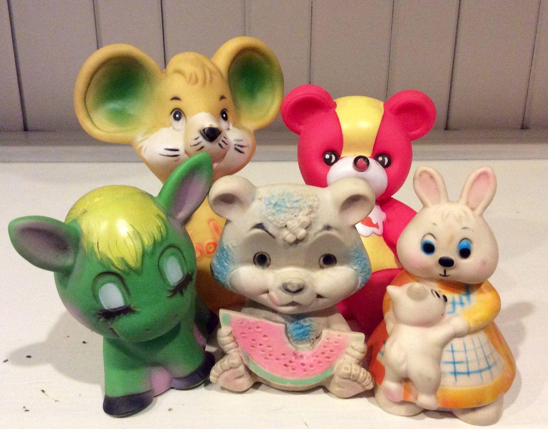 5 Vintage Vinyl/Rubber Squeaky Toys, Vintage Baby Toys, Vintage ...