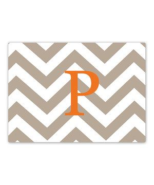 Look what I found on #zulily! RuMe Tan & Orange Zigzag Initial Glass Cutting Board by RuMe #zulilyfinds