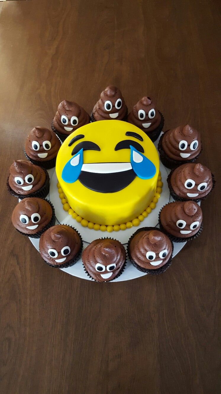 My emoji cake and poop emoji cupcakes for my dad's birthday. Made ...