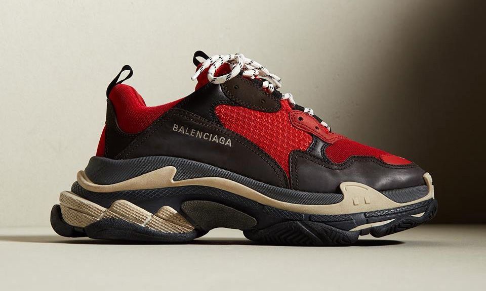 "quality design 46640 d78db BALENCIAGA Triple S Red ""Deadpool""Colorway Style Prince Tennis Shoes,  Balenciaga Shoes Mens"