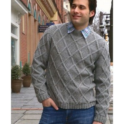 f1bf21f40 Plymouth Yarn 2900 Mens Moss Diamonds Pullover