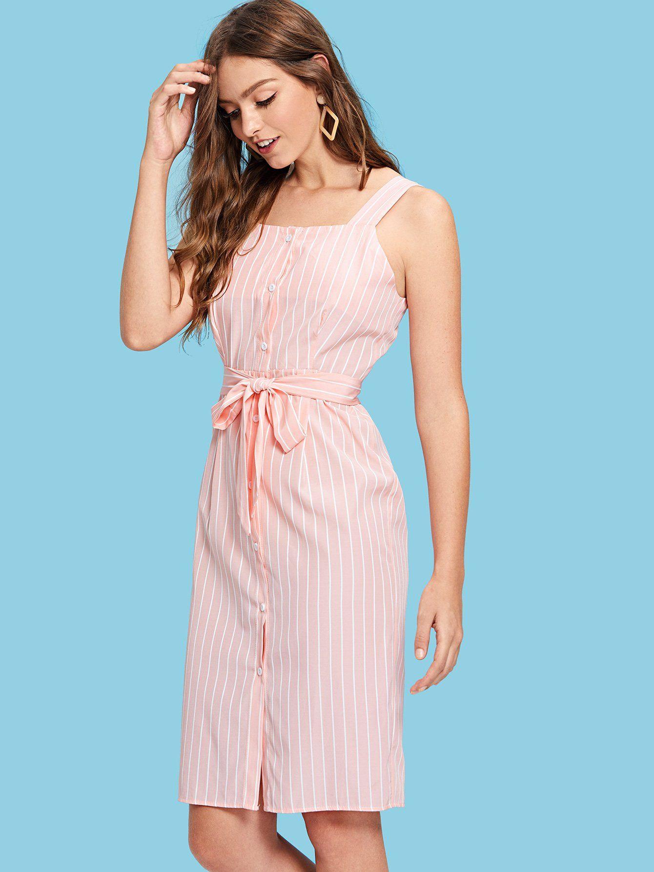 officiel en stock dernière mode Robe à rayures avec ceinture-French SheIn(Sheinside) | robes ...