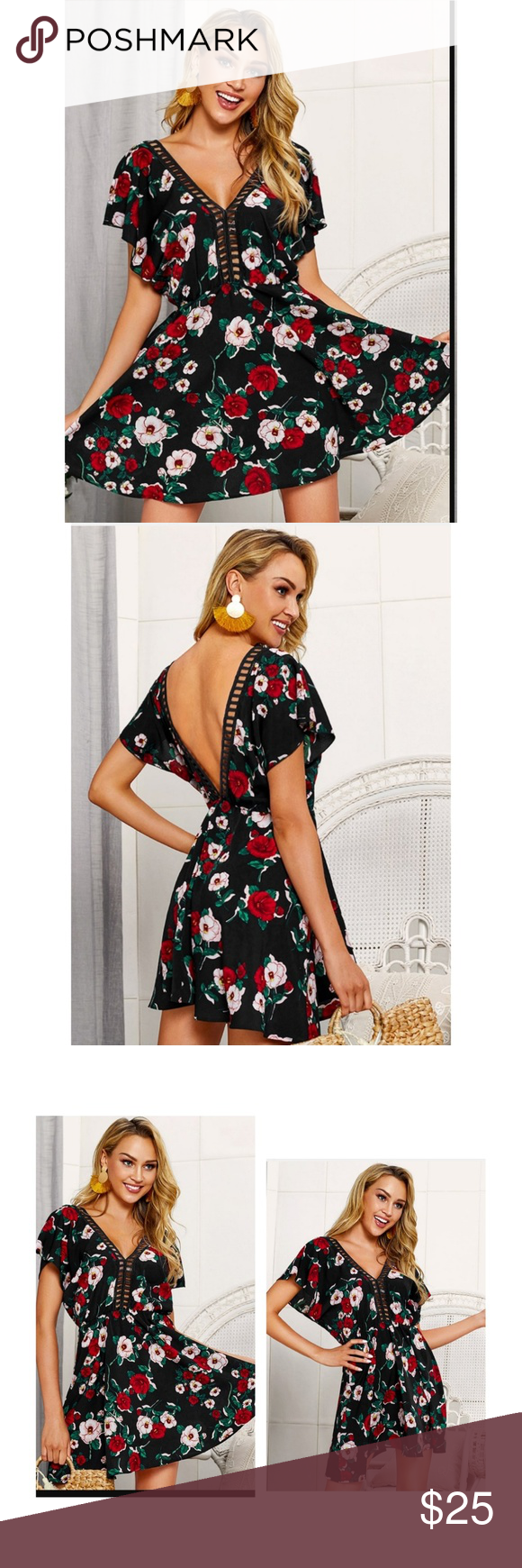 NIP Contrast Crochet Floral Print Backless Dress Gorgeous floral print backless dress with crocheted detail on the bust and back with flutter sleeves beautifully lightweight ordered wrong size from shein  Size xl  Reasonable offers and questions welcome SHEIN Dresses #shortbacklessdress