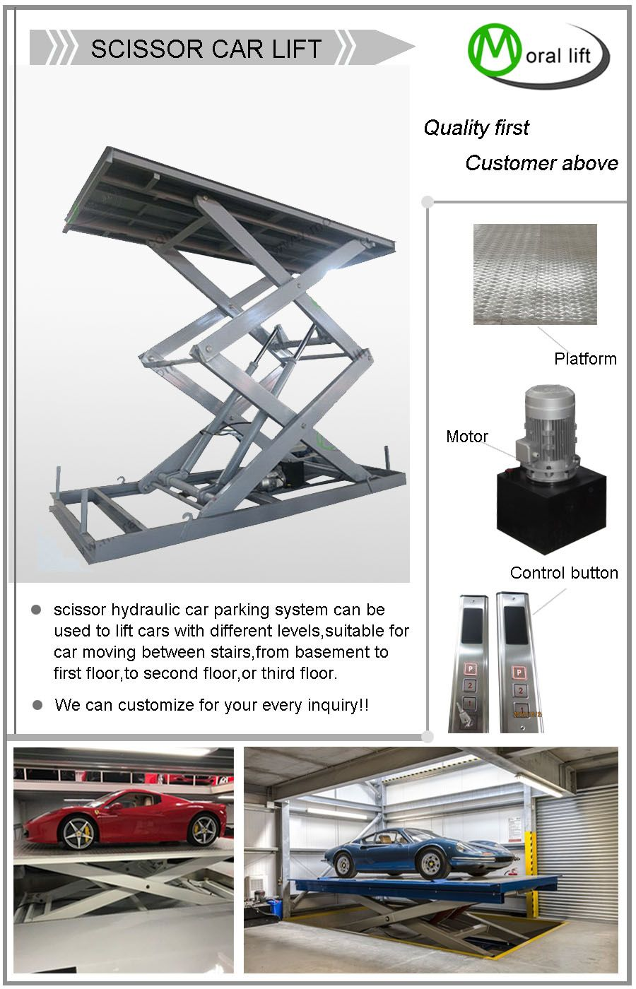 Car Lift To Basement Garage Scissor Hydraulic Car Parking System Can Be Used To Lift Cars With