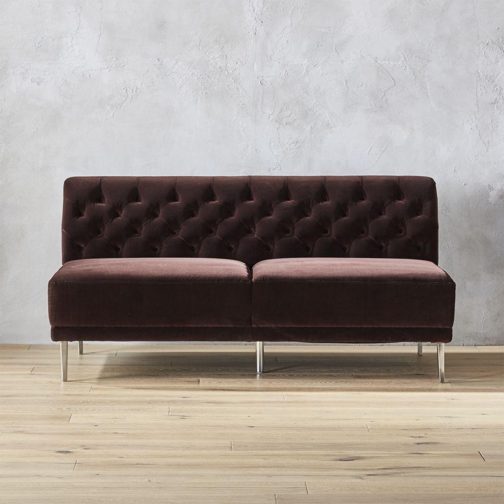 Best Savile Cocoa Brown Velvet Tufted Armless Sofa Velvet 400 x 300