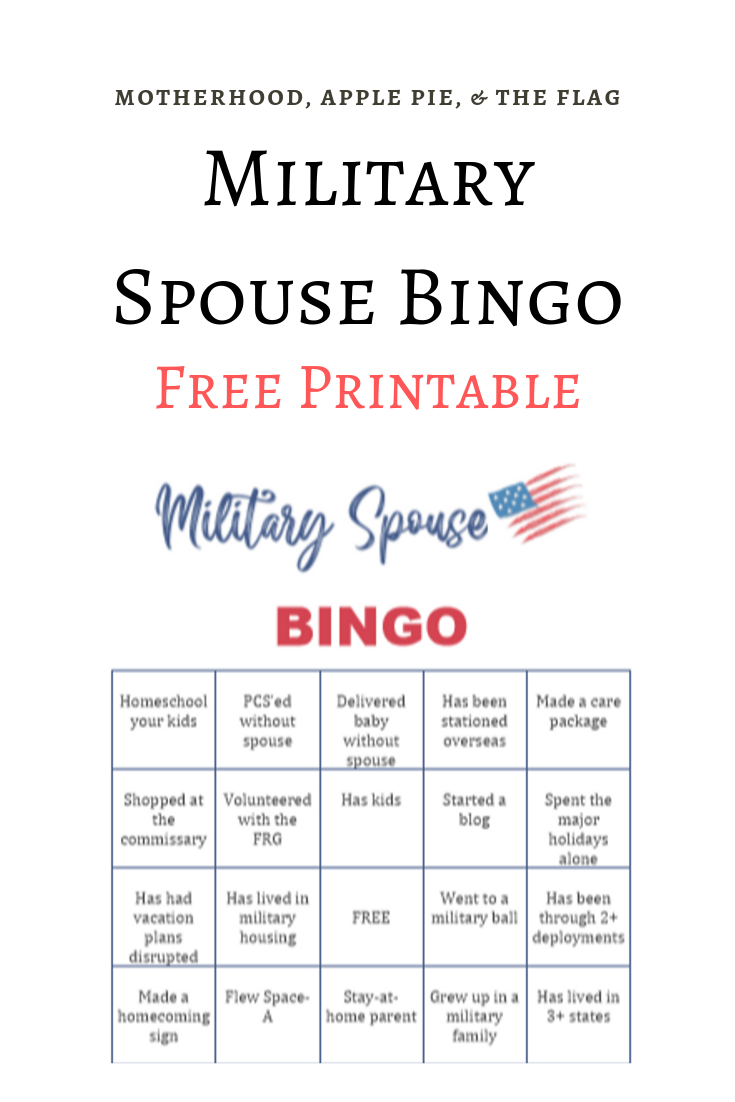 Military Spouse Bingo Free Printable Motherhood Apple Pie The Flag Milso Frg Mils Military Spouse Military Spouse Blog Military Relationship Advice