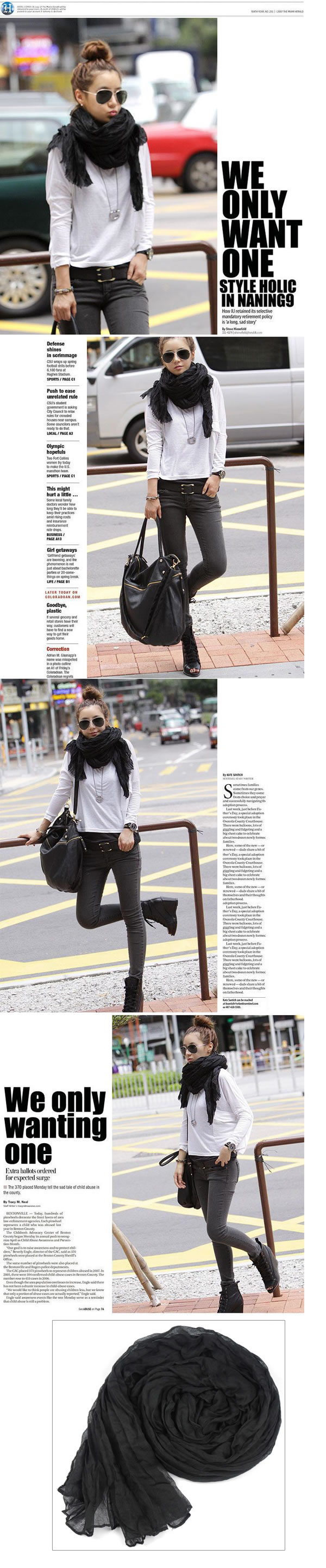 Preppy Black Fold Design Fibre Fashion Scarves,knitting Wool Scaves http://earrings.asumall.com/