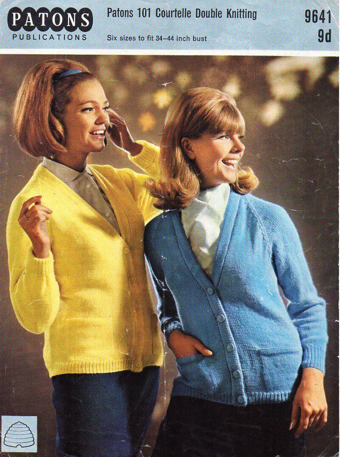 716532739f09 womens classic cardigan with pockets knitting pattern pdf DK ladies v neck  jacket vintage 1960s 34-44