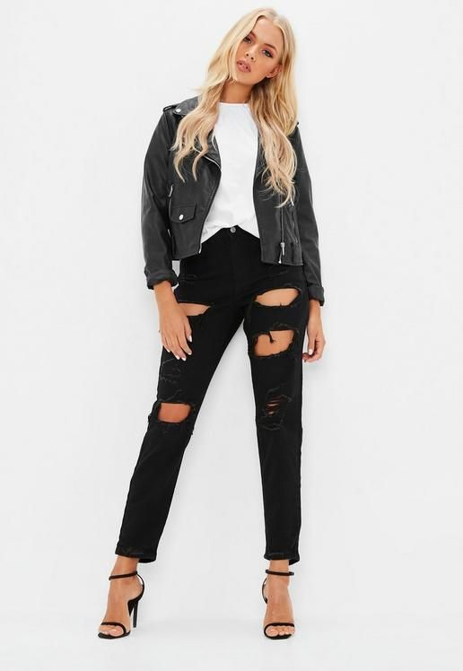 f3fd1f49c9130 Black Riot High Rise Ripped Jeans | Missguided | High waisted mom ...